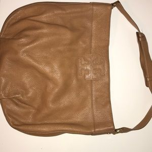"Tory Burch Stacked ""T"" Hobo - ROYAL TAN"